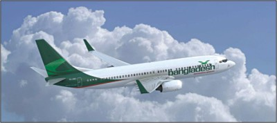 Bangladesh Airlines plane flying