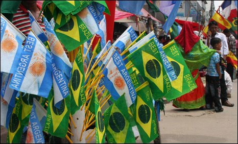 Brazil Argentina flags Bangladesh football fans