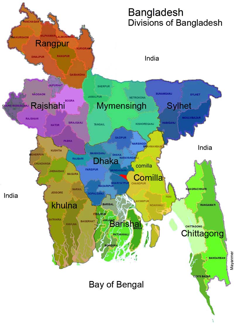 Map of Bangladesh - Divisions and Districts Maps