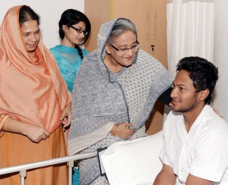 Sheikh Hasina beside sick Shakib