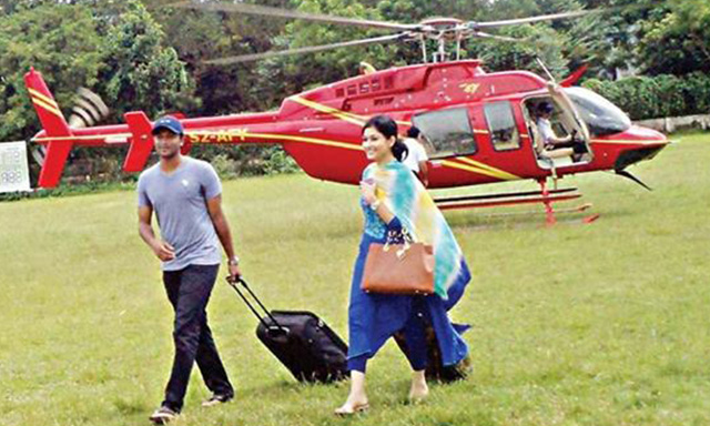 Shakib visit home district with new wife by Halicopter
