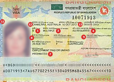Sample Visa of Bangladesh
