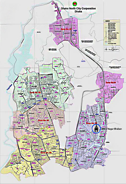 Dhaka City Map - South and North City Corporation map on