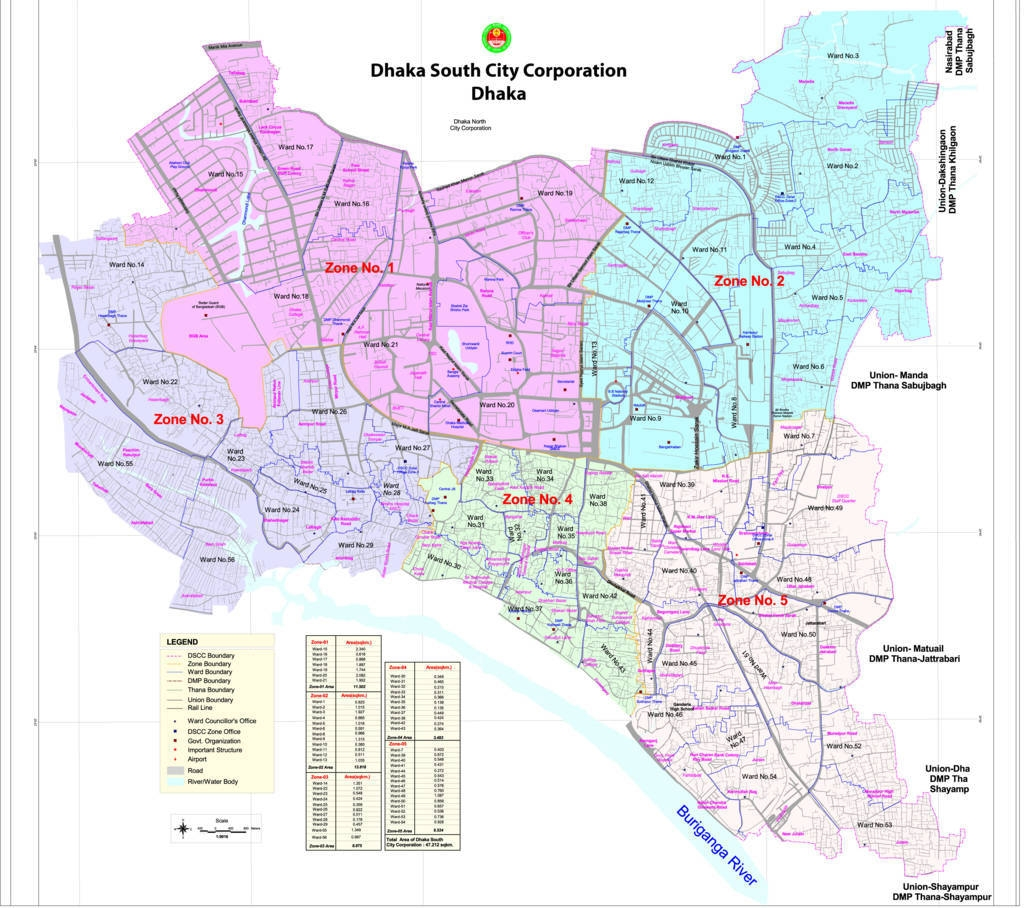 City Of South Gate >> Dhaka City Map - South and North City Corporation
