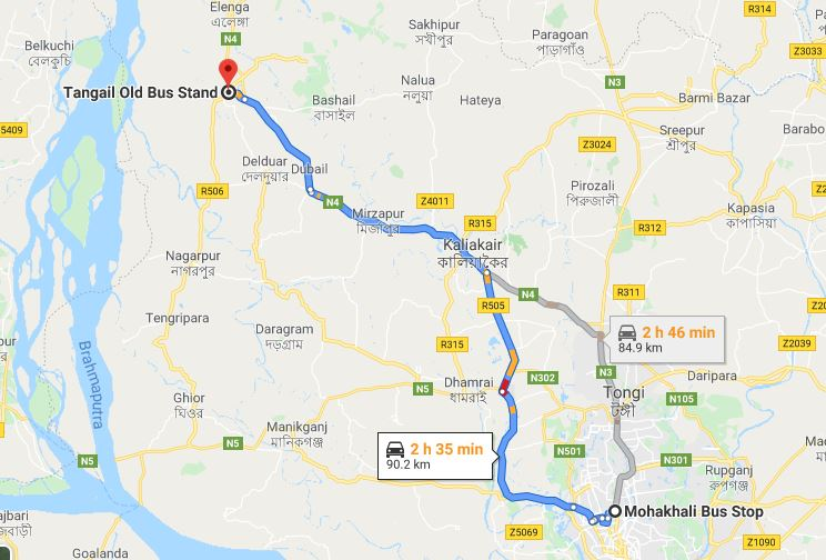 How to go tangail by bus